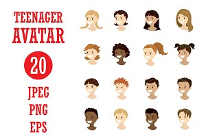Cartoon set - 20 teenager avatars