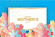 Happy Mothers Day. Origami Gold Floral Greeting card. Paper cut flower . Rectangle frame.