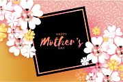 International Happy Mothers Day. White Floral Greeting card with Brilliant stones. Square black frame.