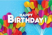 Flying Paper cut balloons. Colorful Happy Birthday Greeting card