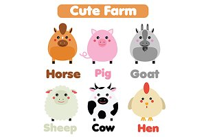 Cute farm animals set. eps+jpg