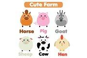 Cute farm animals set. eps+jpg