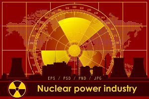 Nuclear power industry vector set.