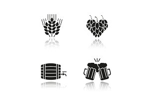 Beer drop shadow black icons set