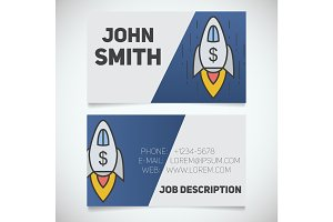 Business card print template with spaceship logo