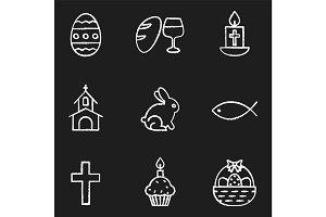 Easter chalk icons set