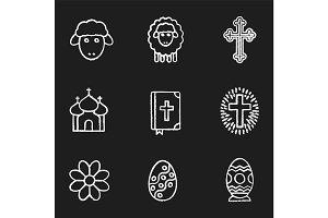 Easter chalk icons set