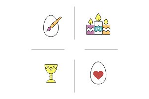 Easter color icons set