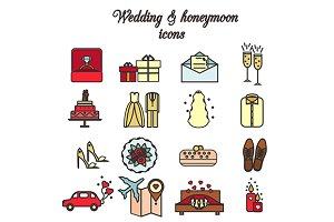 Wedding and romantic icons. eps+jpg