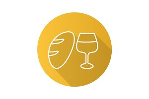 Bread and wine flat linear long shadow icon