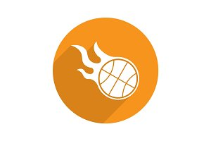 Burning basketball ball. Flat design long shadow icon
