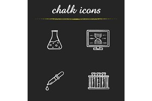 Science laboratory chalk icons set