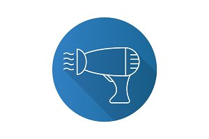Hair dryer flat linear long shadow icon