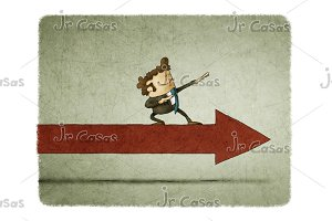 Businessman on an arrow moving forward