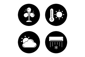 Summer weather icons set