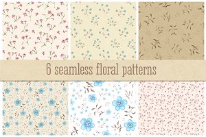 6 seamless floral patterns