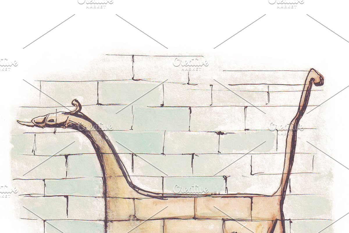 Dragon from Ishtar Gate of Babylon in Illustrations - product preview 8