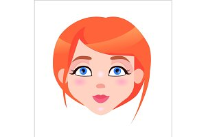 Redhead Woman Calm Face Flat Vector Icon