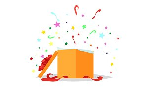 Open Gift Box Illustration. Holiday Collection