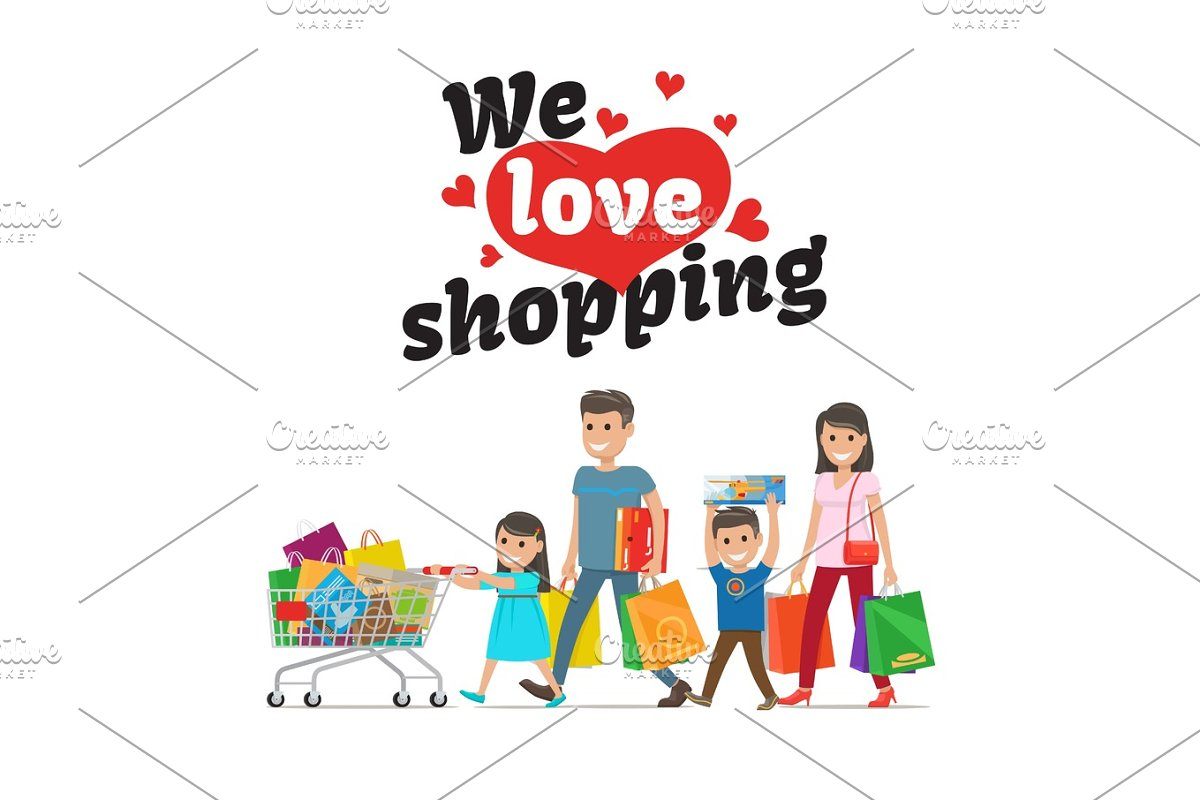 We Love Shopping Concept and Family with Purchases in Illustrations - product preview 8
