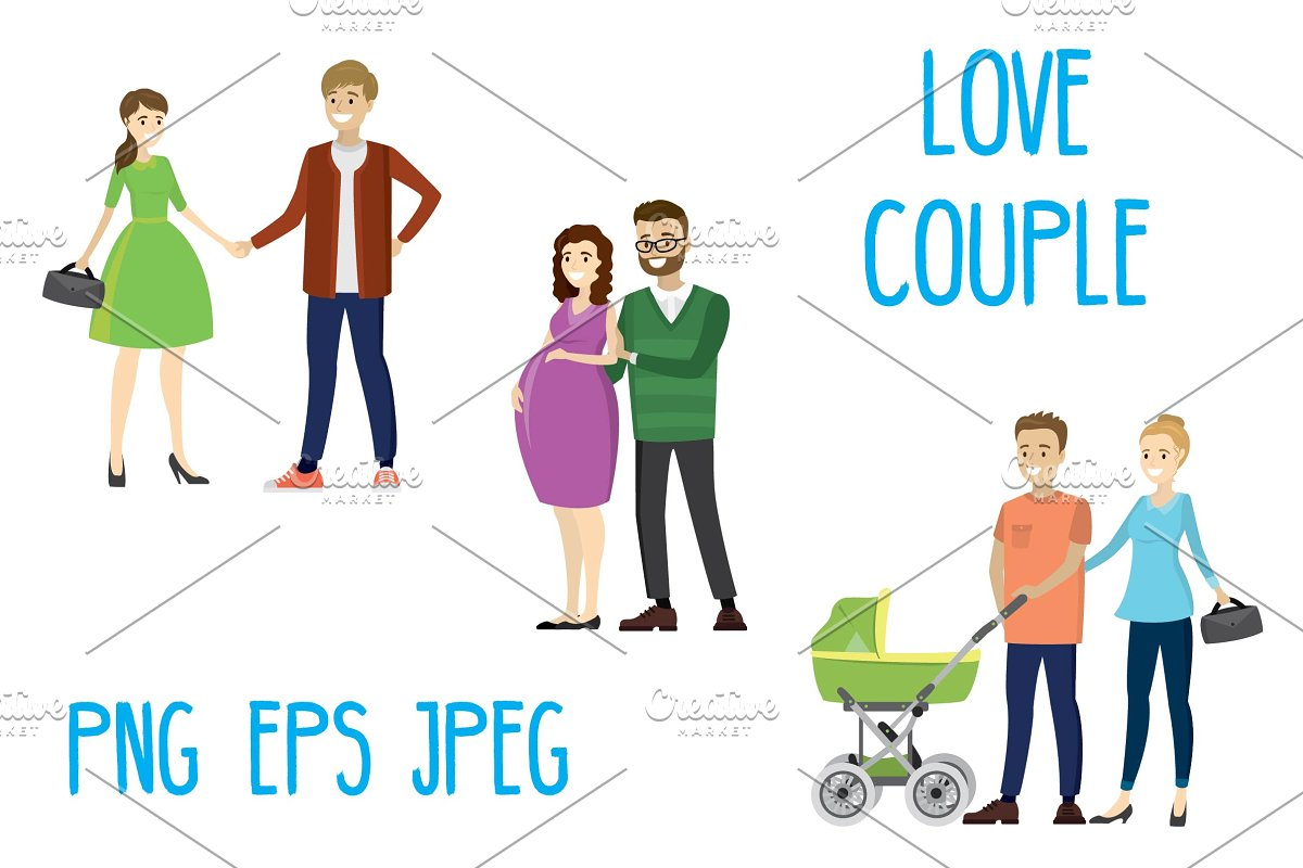 Set three lovers couples in Illustrations - product preview 8
