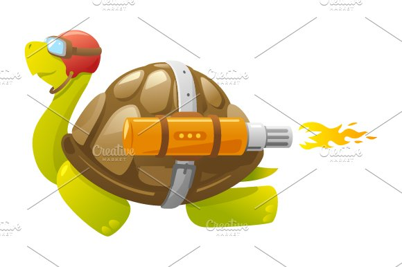 Fast Flying Turtle in Illustrations