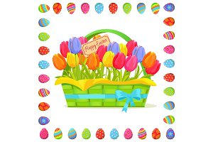 Happy Easter Note In Tulips Bouquet Illustration