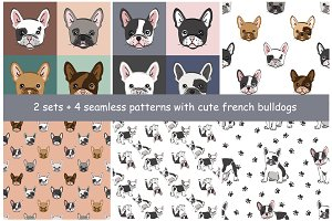 French bulldogs seamless patterns