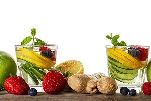 Detox Healthy Drinks. White Isolated