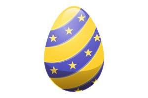 Easter Egg with Ornamental Lines and Yellow Stars