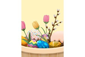 Set of Easter Cake, Color Eggs, Flowers and Willow