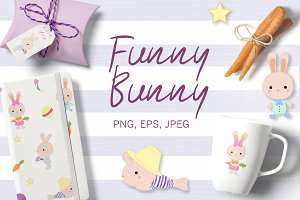 FUNNY BUNNY set clipart & pattern