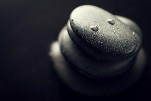 Spa Concept. Spa Hot Stones Closeup