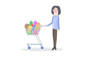 Woman with Shopping Trolley Flat Vector Icon