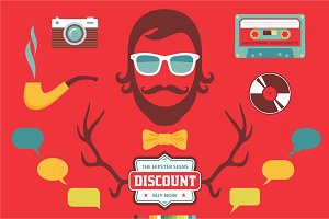 Hipster retro design vector elements