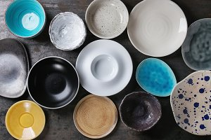Empty colorful plates collection