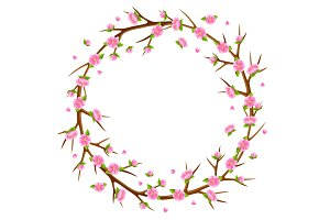 Spring frame with branches of tree and sakura flowers. Seasonal illustration