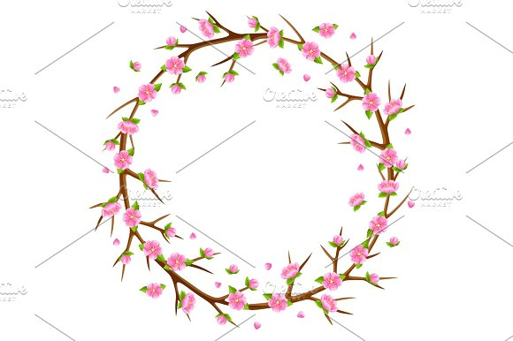 Spring Frame With Branches Of Tree And Sakura Flowers Seasonal Illustration