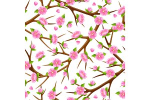 Spring seamless pattern with branches of tree and sakura flowers. Seasonal illustration
