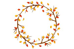 Autumn frame with branches of tree and yellow leaves. Seasonal illustration