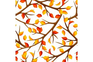Autumn seamless pattern with branches of tree and yellow leaves. Seasonal illustration