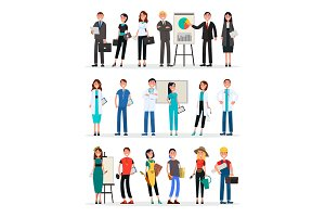 Different Work Teams Set. Professional Staff Vector