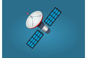 Cartoon Artificial Satellite Isolated illustration