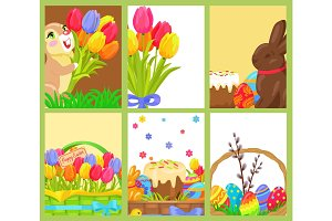 Easter Openings Chocolate Bunny Colored Egg Tulips