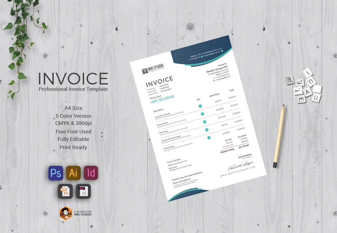 Stylish Invoice Template ~ Stationery Templates ~ Creative Market