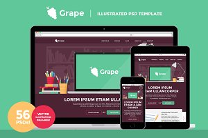 Grape - Illustrated PSD Template
