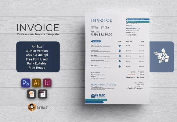 Modern Invoice Stationery Templates Creative Market - Modern invoice template