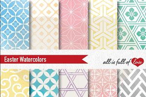 Easter Patterns Watercolor Graphics