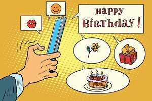Mobile app greetings happy birthday