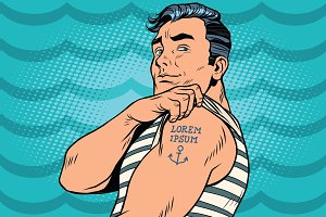 Sailor with Lorem ipsum tattoo on hand